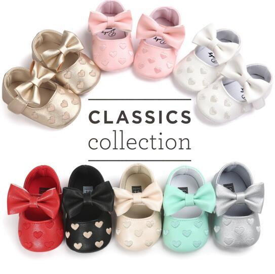 8 Styles NEW Autumn and winter Heart Bow Infant rShoes Newborn Boys Girls First Walker Shoes Infant Prewalker Shoes