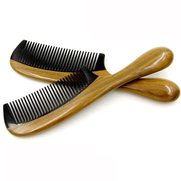 Hair Styling Tools Horn Wooden Comb Handle Handmade Sandalwood Fine Tooth Curly Hair Comb Drop SHipping 8f24