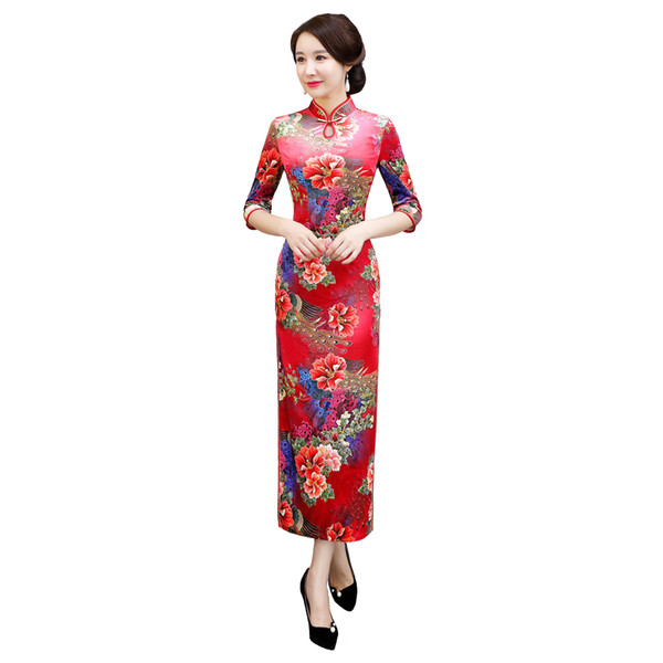 Shanghai Story 2018 Autumn New Arrival Keyhole Floral Qipao Velvet Cheongsam Dress Long Chinese Traditional Clothing for Women