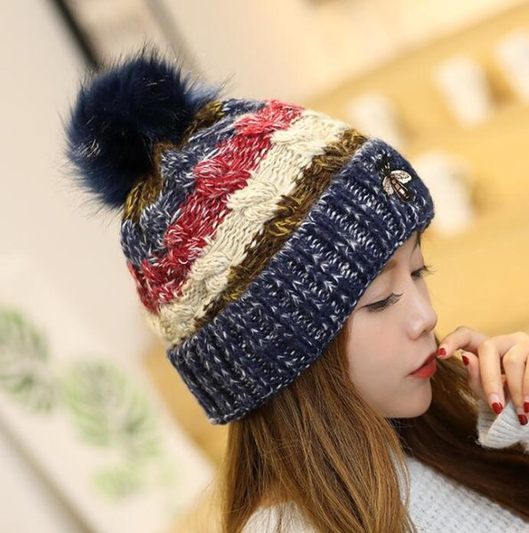 Winter Warm Knitted pompom hat Thickening Beanie Hats For Girls Student Teenagers Women Knitted Hat Cap little Bee Embroidery hat KKA6208