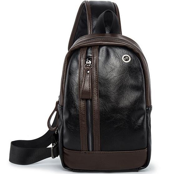 Male Fashion Vintage PU Leather Single Shoulder Bag Crossbody Sling Pack Daypack Unbalance Backpack Travel Casual Chest Bag For Men