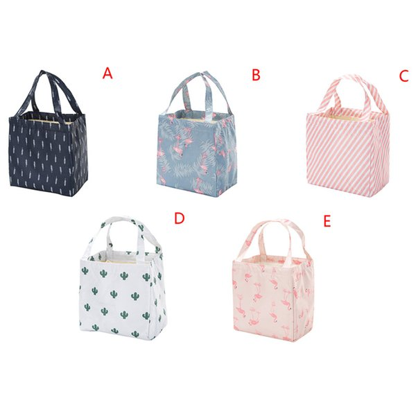 1Pcs Fresh Insulation Cold Bales Thermal Lunch Bag Cute Flamingo Cactus Waterproof Convenient Leisure Bag Tote