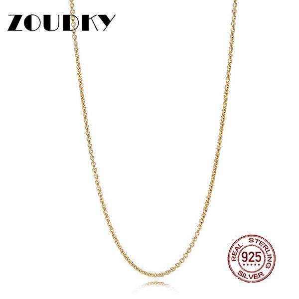 ZOUDKY NEW 100% 925 Sterling Silver Genuine 18 Gold Shine Necklace Chain Original Orange Charm Pendant Women Gift
