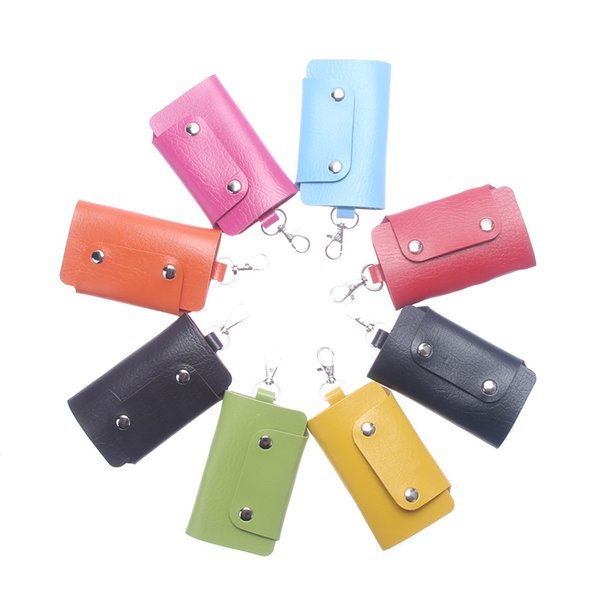 ISKYBOB Hot Sale PU Leather Housekeeper Holders Car Keychain Key Holder Bag Case Key Wallet Cover 8 colors Free Shipping