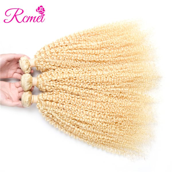 Rcmei 3 Pcs Lot 613 Blonde Hair Indian Kinky Curly Remy Hair Weft Human Hair Weave Bundles No Shedding 10-28inch Free Shipping
