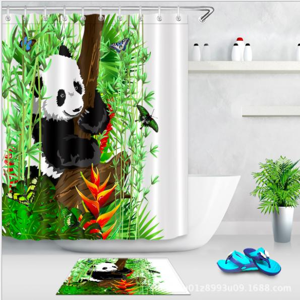 Panda Bamboo Shower Curtain and Mat Set Chinese Painting Art Waterproof Fabric Bathroom Curtain For Bathroom Products