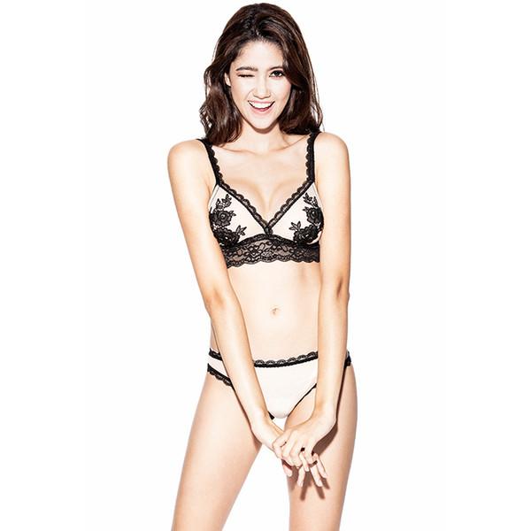 French Brand Female Underwear Bralette Set Lingerie Sexy Bra Embroidery Ultrathin Transparent Lace VS Bra Panty Set