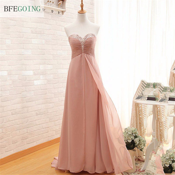 Sweety Pearl Pink Real Photos Sheath Sweetheart Crystal Chiffon Pleat Sequined Evening Dress Sexy Sweep Train Beaded Evening Gowns