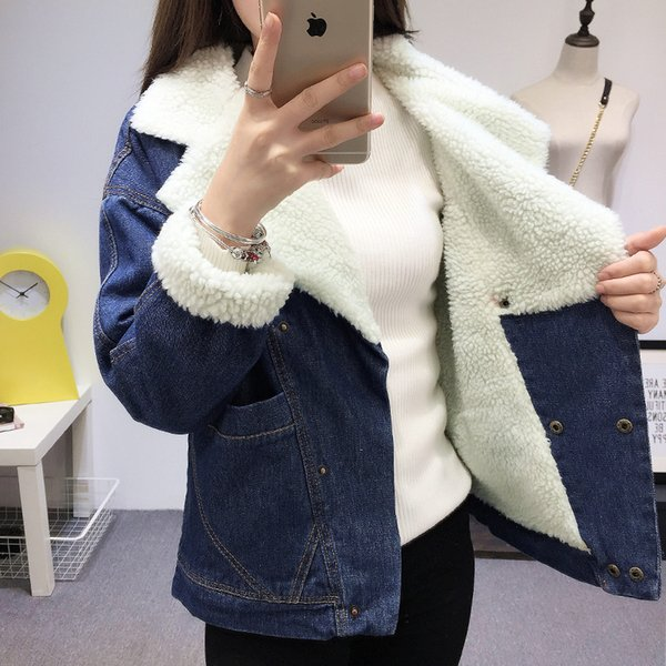 Warm winter denim jacket for Female 2018 new spring autumn winter Wool lining Jeans Coat Women Bomber Jackets casaco feminino