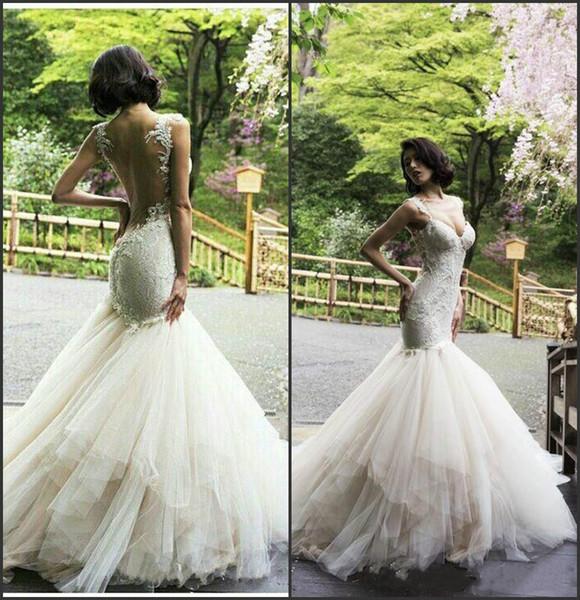 Elegantes correas de espagueti Vestidos de novia de sirena Backless más el tamaño de encaje árabe Dubai vestido de novia africano Vestido de novia vestido de novia