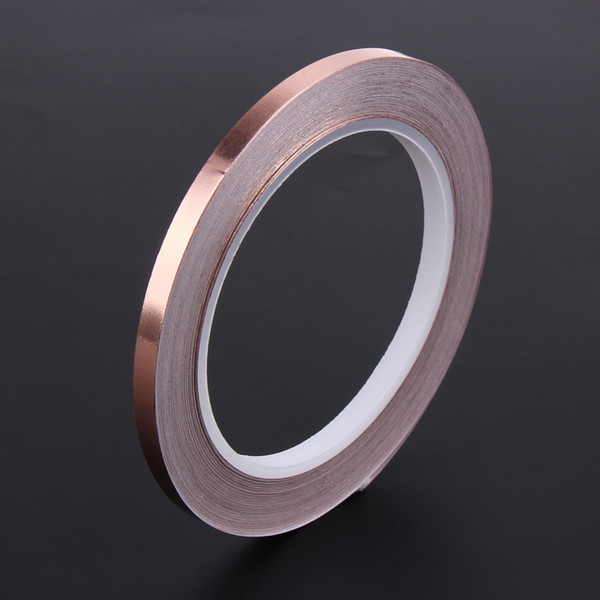 top popular 6mm 20m Single Side Conductive Copper Foil Tape Strip Adhesive EMI Shielding Heat Resist Tape for Electronic Components Barrier 2021