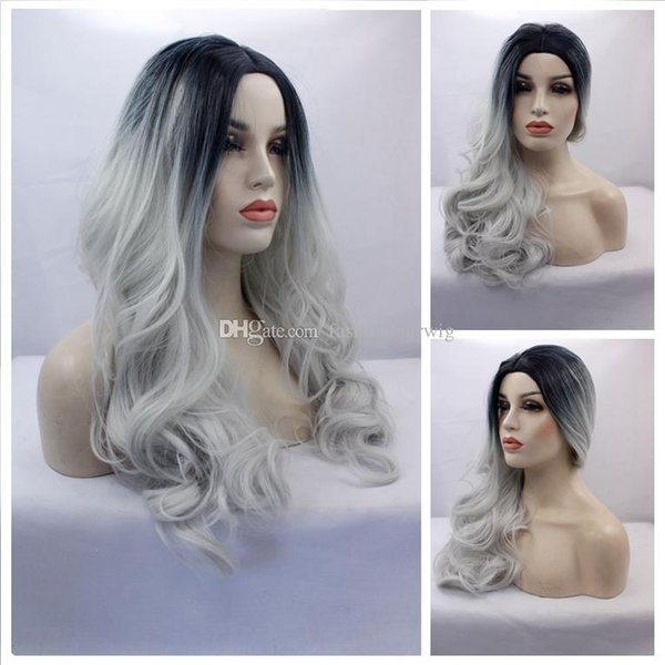 Synthetic Gray Lace Wig Glueless Ombre Tone Color Black And Silver Grey Heat Resistant Hair Cosplay Party Wigs Natural Body Wave Gray Wigs
