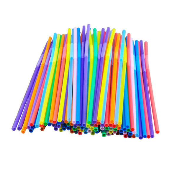 100pcs Bright Colorful Plastic Bendable Drinking Straws Disposable Beverage Straws Wedding Decor Mixed Colors Party Supplies