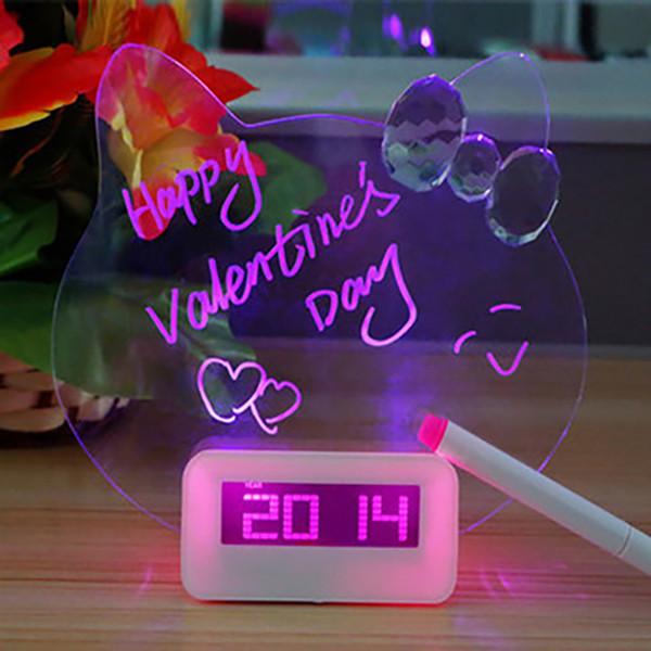 Digitaler Wecker LED fluoreszierende Message Board Silent Wecker Home Decor Desktop mit USB-Anschluss Pink Blue M009
