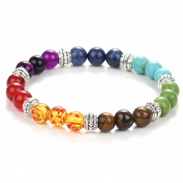 2017 pietre semi-preziose naturali tondo tallone sette colori chakra gemma braccialetto salute reiki preghiera braccialetto di pietra spedizione gratuita