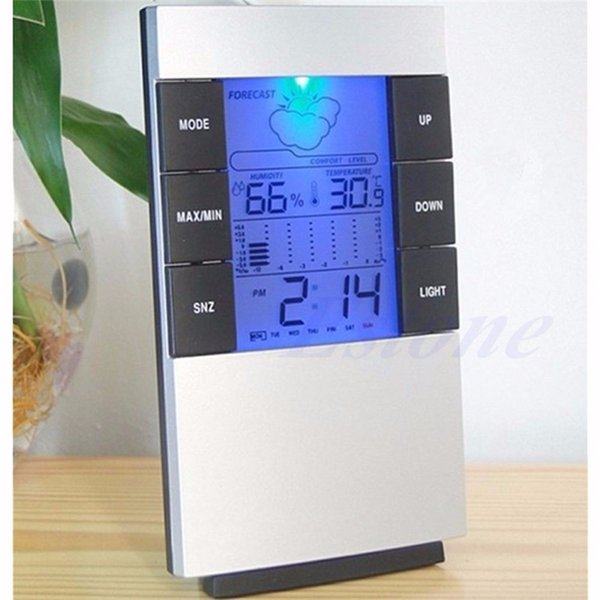 Higrómetro interior Pronóstico del tiempo Relojes Máx. / Mín. Temperatura Humedad Registro Campana Cambio de color Escritorio Relojes de mesa digitales Reloj