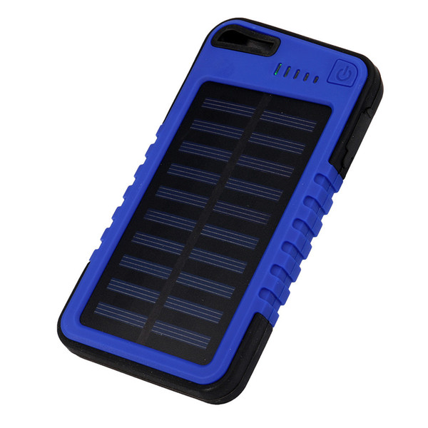 New 5000 mah Dual-USB Waterproof Solar Power Bank Battery Charger For Cell Phone for Iphone 6S and 6S Plus for Samsung Huawei