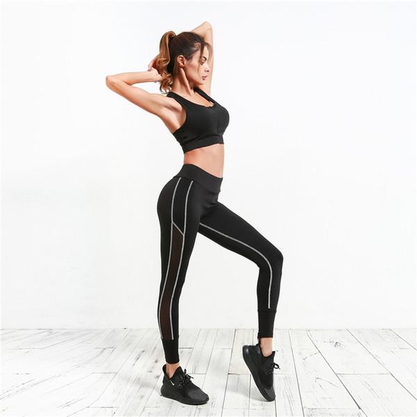9a47bca562 Sexy Sports Women Fitness Clothing Black Gym Leggings Sportswear Running  High Waist Tights Mesh Patchwork Yoga