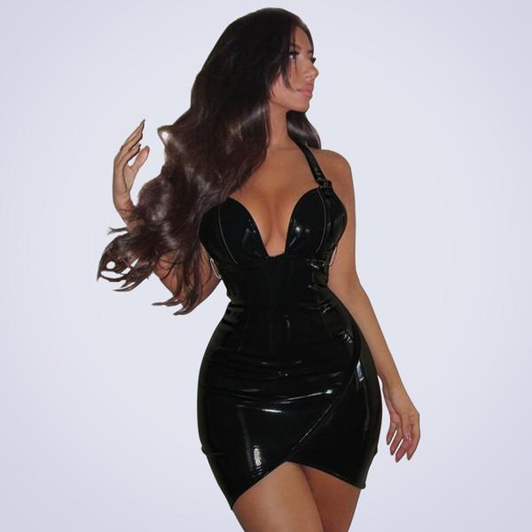Womens Sexy Club Brilhante PU de Couro Sem Encosto Bodycon Vestido Para Moda Feminina Strap Profundo Decote Em V Bainha Fina Mini Vestidos