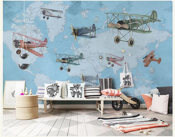 Ручная роспись старинный самолет карта 3D стены Фото мультфильм настенная роспись обои для детской комнаты большой 3D настенная роспись Papel