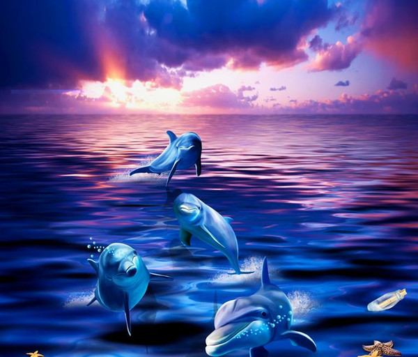 wallpaper for kids room Aesthetic Dolphins Rushes out of the Water Ocean World 3D Bathroom Living Room Floor