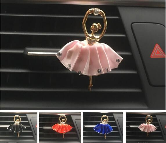 New Lady Car Perfume Metal Lovely Ballerina Styling Air Conditioner Outlet Perfume Clip Car Air Freshener Ornaments