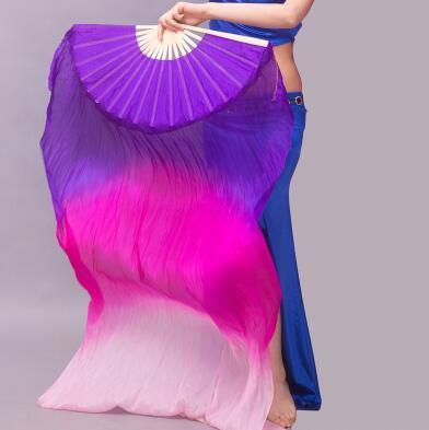 Belly Dance Silk Fans Veils 100% Silk Hand Made Black Purple Fuschia Pink One Pair 180x90cm
