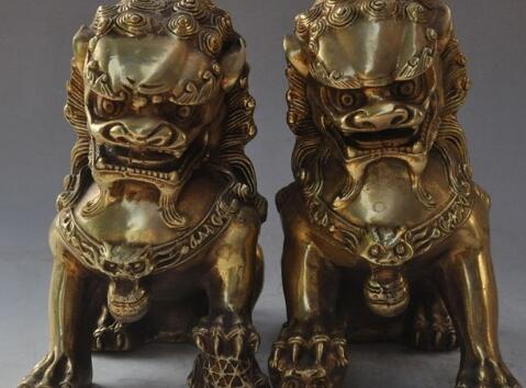 "6""china fengshui brass evil spirits foo dog lion Guardian beast ball statue pairalth Beast Statue a(5.19)"
