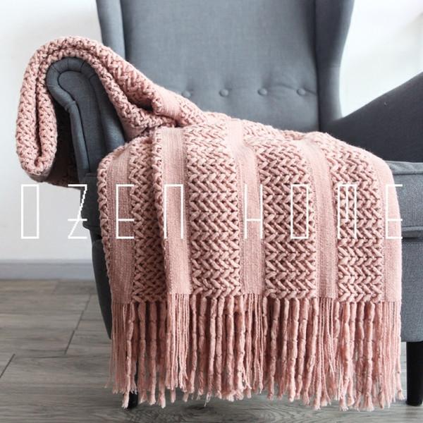 Original Throw Quaste Decke einzelne Wolle Weave Retikulum Plaid Sofabezug Teppich Plaid Tagesdecken gewichtete Decke