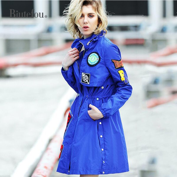 2018 Autumn fashion embroidery long coats patch designs women sequined hooded coats