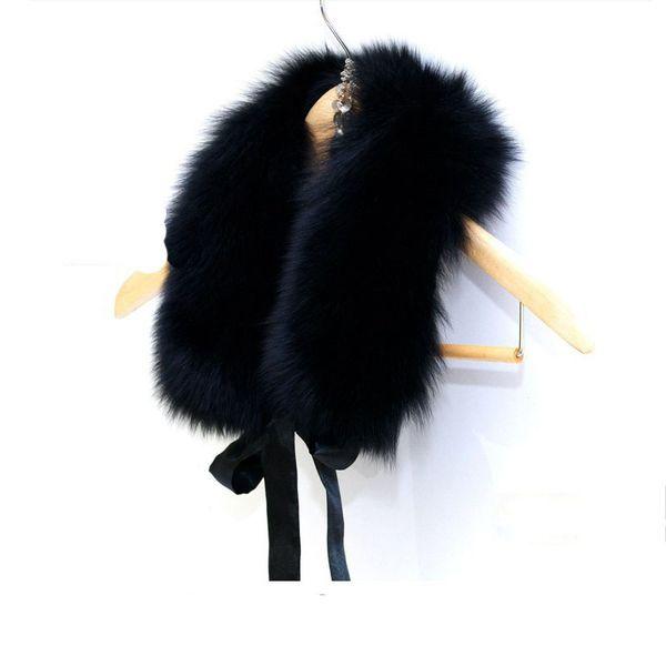 Fur Collar Women New 2018 Winter Fashion Ladies Luxury Brand Fake Fox Faux Fur Scarf Shawl Scarves and Stoles 52CM Black White