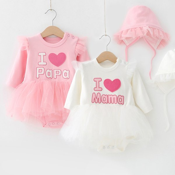 Newborn Baby Dress Long Sleeve Girls Lovly Party Ball Gown Dress with Hats Cotton Autumn Princess Kids Girl Clothes