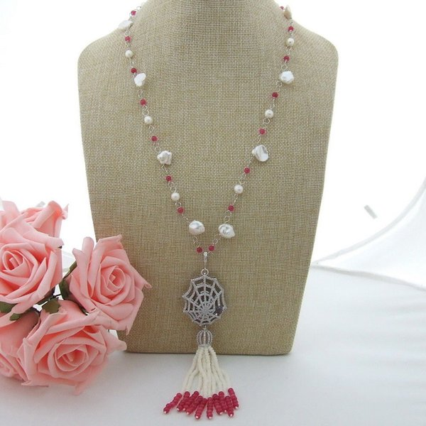 N012805 Collier en jade de corail blanc Keshi Pearl 25 ''