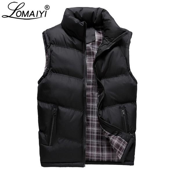 LOMAIYI Men's Winter Sleeveless Jacket Men Thick Casual Coats Mens Warm Down Vest Male Padded Waistcoat Gilet Homme Vests BM252