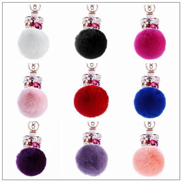 9 colores 13 cm mujeres de piel de conejo bola de llavero botella de perfume de diamantes de imitación accesorios del bolso llavero pompón bolso accesorio CCA9035 50pcs