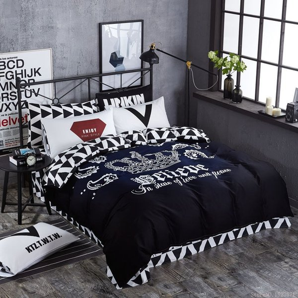 TUTUBIRD Black And White Crown Bedding Sets 100% Coon Fashion Brand Duvet  Covers Striped Plaid Bedspreads Bed Sheets 100 Cotton Comforter Sets  Bedroom ...