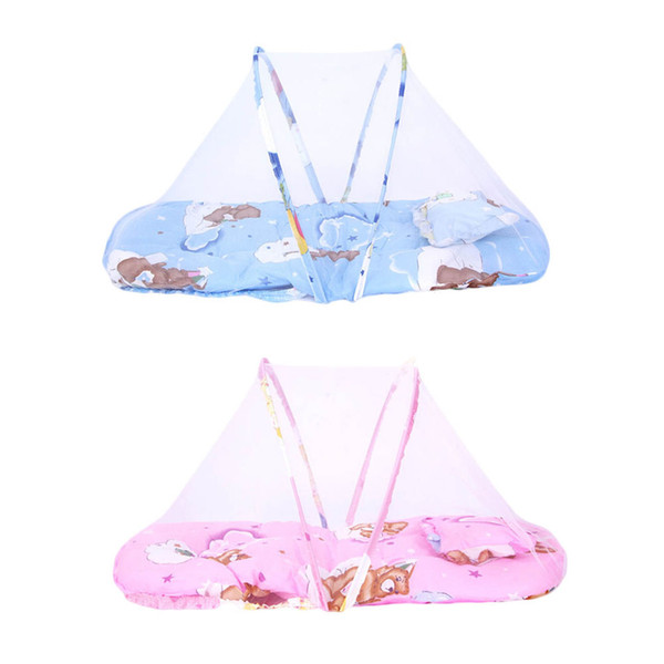 1pc Baby Cot Bed Canopy Mosquito Net 0-2 Years Baby Bed Net Portable Folding Travel Crib Tent With Pillow Kids Children
