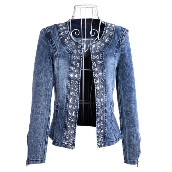 women elastic denim jacket coat rhinestone sequin retro short denim jacket  for women female lady outerwear
