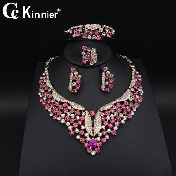 Dubai oro-colore matrimonio nuziale perline africani set di gioielli rosso zircone collana donne moda fascino partito Bangle orecchino anello