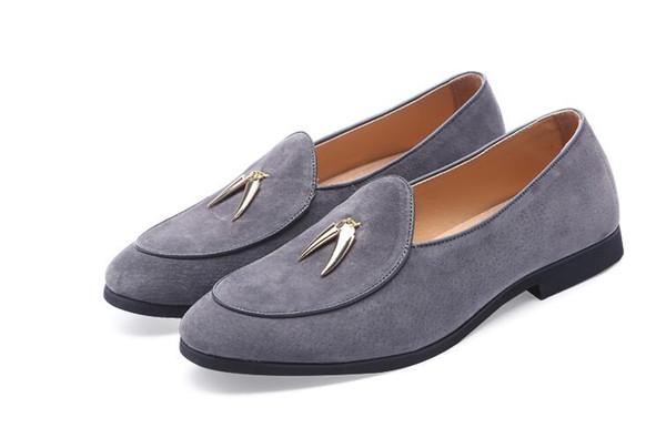 2018 NEW style Fashion Genuine Designer Mens Dress Shoes Classic Slip On black Velvet Formal Shoes Men Footwear Wedding Business Shoe G271