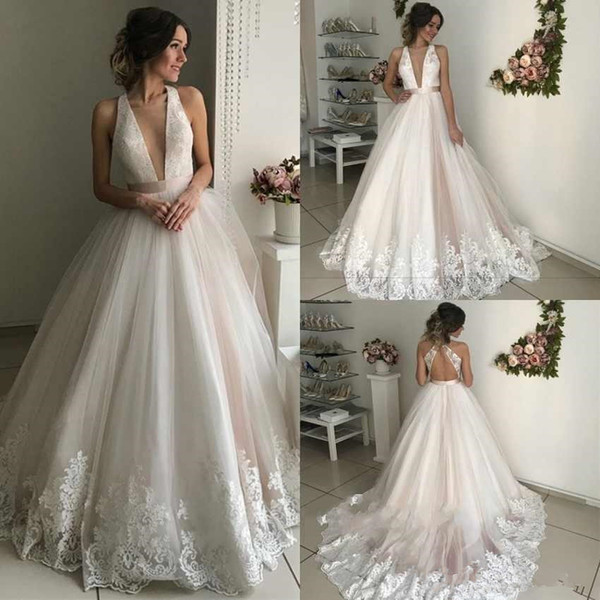 Sexy Deep V Neck Wedding Dresses 2019 Lace Appliques edge Backless Sweep Train A Line princess church Bridal Gowns Custom Made