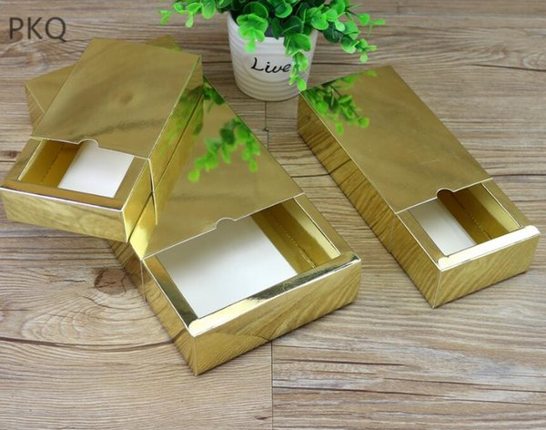 10pcs High quality Gold kraft paper gift box for wedding christmas party drawer paper box Boutique/cosmetics packaging box