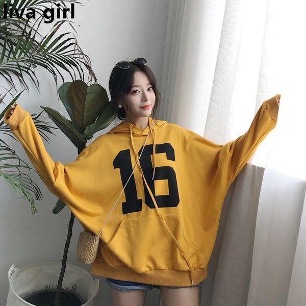 2018 Street Fashion Number Impreso Pocket Hoodies Mujeres Harajuku BF Coreano Flojo Mujer Sudadera Chic Hooded Fleece Moletom