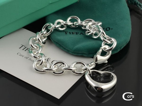 High Quality Celebrity design Silverware bracelet Women Letter Heart-shaped Chain Bracelets Jewelry With dust bag Box