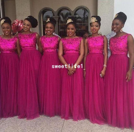 2018 Fuchsia Lace Appliques Bridesmaid Dresses A Line Tulle Floor Length Maid Of Honor Wedding Guest Gown Formal Evening Dresses Custom Made