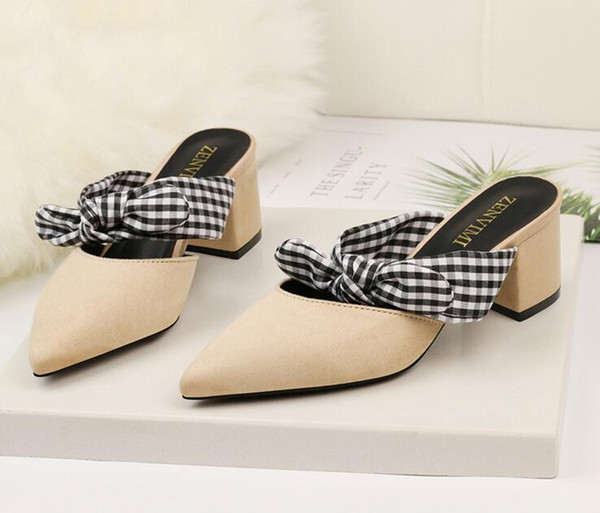 5cm Bowtie Slippers size 35-39 Pointed Toe women banquet Pumps lady Wedding Party Shoes girl leather Casual dancing party high heels