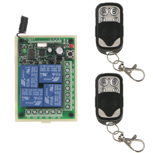 Universal DC 12V 24V Relay 4CH 4 CH Wireless Remote Control Switch Receiver Module and RF Transmitter,315 / 433 MHz