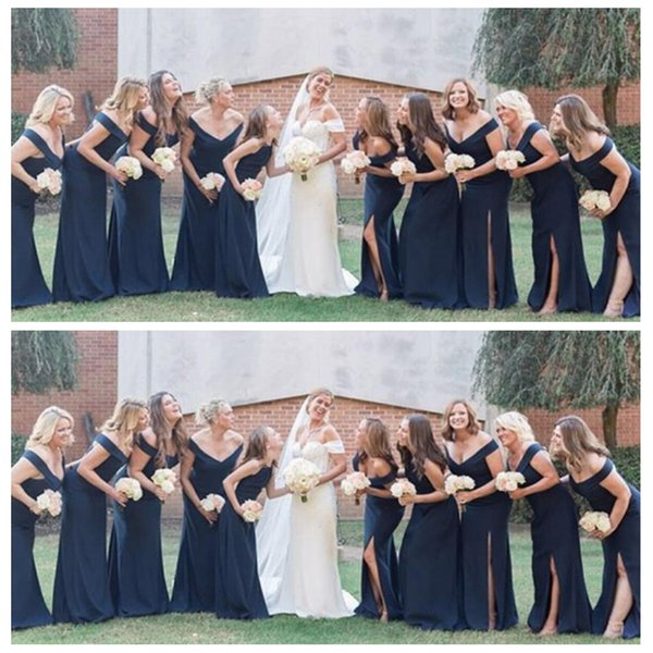 Long Bridesmaid Dress Navy Blue Slit Sweetheart Satin Floor Length Ruched Fall Wedding Guest Dress Party Vestidos De Maid Of Honor Dresses