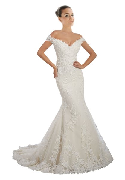 Luxury Trumpet Wedding Dress Off shoulders with Sleeves Applique Lace Beads Crystal Tulle Court Train Backless Wedding Gowns Bridal Dress