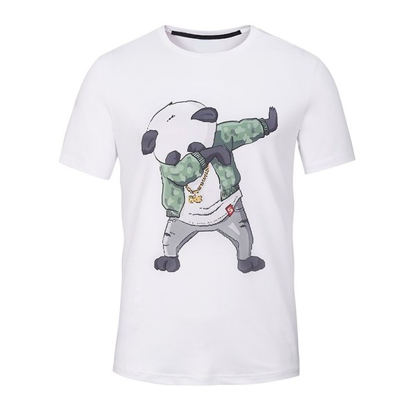 Funny Panda Printed Men T Shirt Short Sleeve Casual T-shirt for Teens Hipster Fractal Pattern Tees Cool Tops White